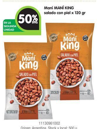 Oferta de Maní MANÍ KING salado con piel x 120 gr por