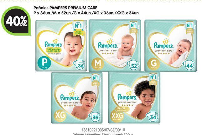 Oferta de Pañales PAMPERS PREMIUM CARE -40% por