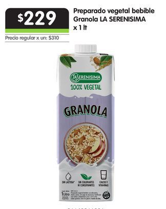 Oferta de Preparado vegetal bebible Granola LA SERENISIMA x 1 lt por $229