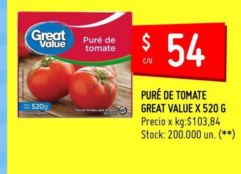 Oferta de PURÉ DE TOMATE GREAT VALUE X 520 G por $5