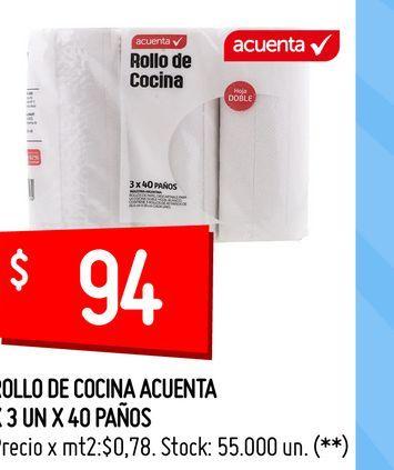 Oferta de ROLLO DE COCINA ACUENTA X 3 UN X 40 PAÑOS por $94