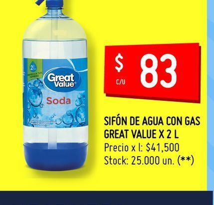 Oferta de SIFÓN DE AGUA CON GAS GREAT VALUE X 2 L por $83
