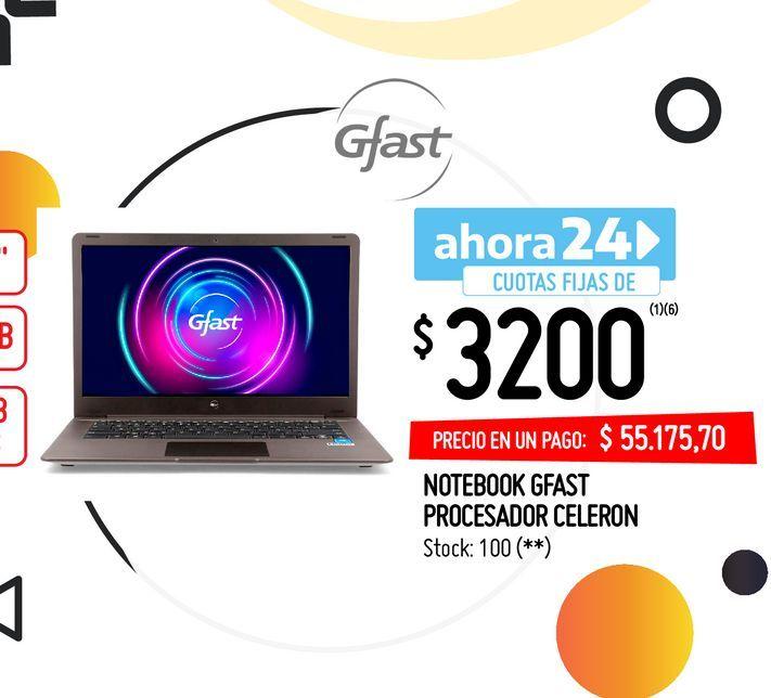 Oferta de NOTEBOOK GFAST PROCESADOR CELERON por $55175,7