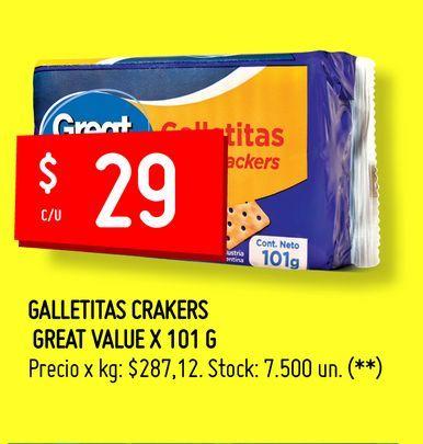 Oferta de GALLETITAS CRAKERS  GREAT VALUE X 101 G por $29