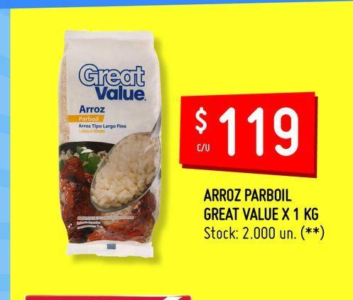 Oferta de ARROZ PARBOIL GREAT VALUE X 1 KG por $119