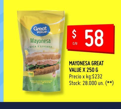 Oferta de MAYONESA GREAT VALUE X 250 G por $58