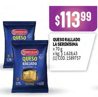 Oferta de Queso rallado La Serenísima 70g por $113,99